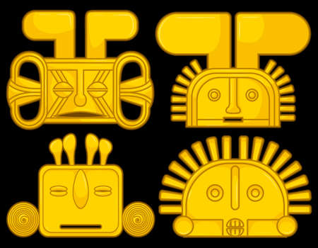 Ancient Colombian golden heads of some pre hispanic native cultures, Vector Illustration Set in black background. (Sin?, Tairona, Mu?sca, Tol?ma, Quimbaya, Calima)