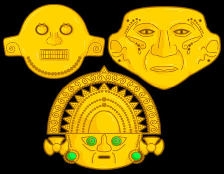 Ancient Colombian golden heads of some pre hispanic native cultures, Vector Illustration Set in black background. 일러스트