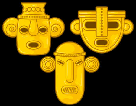 Ancient Colombian golden heads of some pre hispanic native cultures, Vector Illustration Set in black background. (Sin?, Tairona, Mu?sca, Tol?ma, Quimbaya, Calima, San Agust?n, Tierradentro) - Vector 일러스트