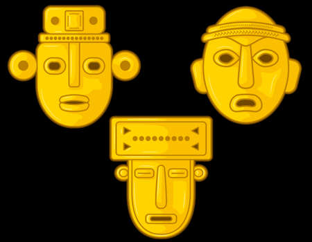 Ancient Colombian golden heads of some pre hispanic native cultures, Vector Illustration Set in black background. (Sin?, Tairona, Mu?sca, Tol?ma, Quimbaya, Calima, San Agust?n, Tierradentro) - Vector
