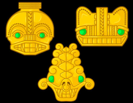 Ancient Colombian golden animal heads of some pre hispanic native cultures with emeralds, Vector Illustration Set in black background. (Sin?, Tairona, Mu?sca, Tol?ma, Quimbaya, Calima) - Vector Illustration