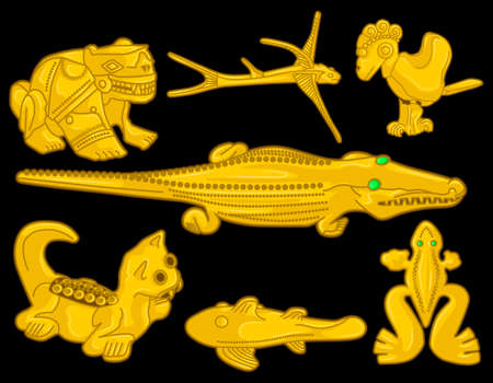 Ancient Colombian golden animal heads of some pre hispanic native cultures with emeralds, Vector Illustration Set in black background. (Sin?, Tairona, Muisca, Tol?ma, Quimbaya, Calima) - Vector 일러스트