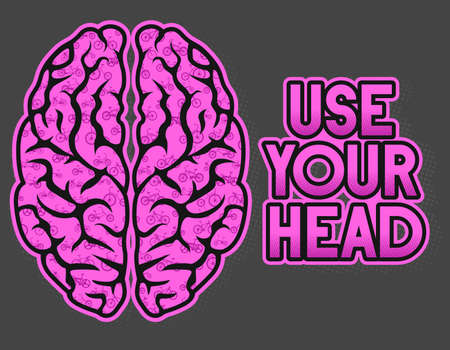 Bike set or Bycicle set inside a brain form, Use your head, vector illustration, vector art. ideal for stamps and t-shirts