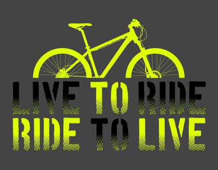 Green Mountain Bike or Bycicle with live to ride, ride to live sentence, and gray background vector illustration, vector art. ideal for stamps and t-shirts - Vector