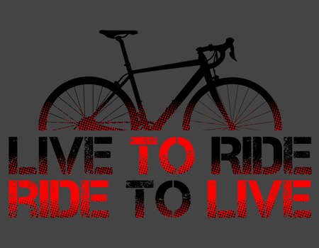Red Route Bike or Bycicle with live to ride, ride to live sentence, and gray background vector illustration, vector art. ideal for stamps and t-shirts - Vector