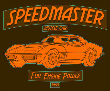 Speedmaster Muscle Car, full engine power vintage 1969 art with brown background. This design is suitable for old style or classic car garage, shops, repair. Also for car tshirts, stamps and hot rods Векторная Иллюстрация
