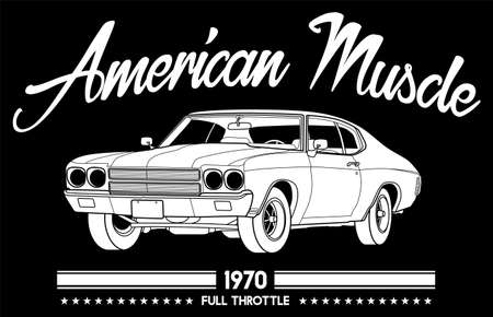 American Muscle Car 1970 Full Throttle vintage in black background Design .This design is suitable for old style or classic car garage, shops, repair. Also for car tshirts, stamps and hot rods things