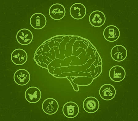 think green art. Renewable Energy elements around green brain with neuronal and technological background, Ispired in nature care. Vector illustration