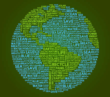 Think Green Calligram earth globe with geeen background, Inspired in eco design, vector illustration Illustration
