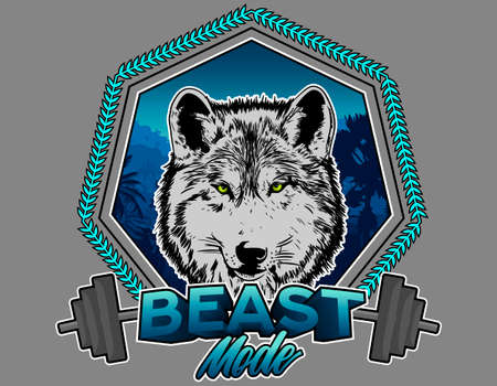Wolf Illustration, fitness beast mode training, with gray background. Vector Illusration.