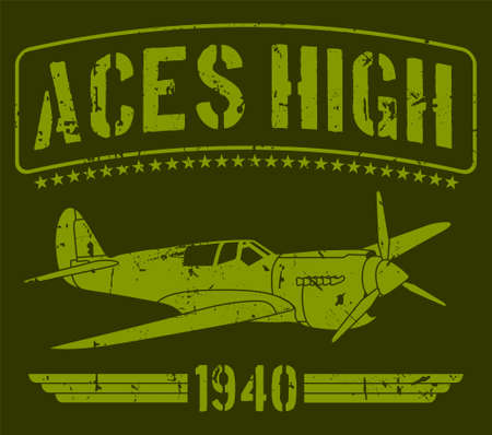 Aces high 1940's world war II airplane in green background with stars. Based in military concept art. Illusztráció
