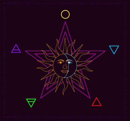 Sun and Moon over five points star with 5 nature elements, water, fire, earth, wind and soul. Nordic runes rounded the wicca elements over dark violet background Category Graphics Resources Language English Keywords (50) alchemy, ancient, antique, art, astrology, black, cabala, circle, craft, design, devil, divination, esoteric, esotericism, fortune telling , gothic, hand drawn, icon, illustration, incantation, magic, moon, mystic, mystical, objects, occult, occultism, old, paganism, paranormal, pentagram, pentangle, prediction, rite, ritual, round, satan, sect, sign, sinister, sorcery, spiritual, sun, supernatural, symbol, vector, wicca, wiccan, witch, witchcraft Çizim