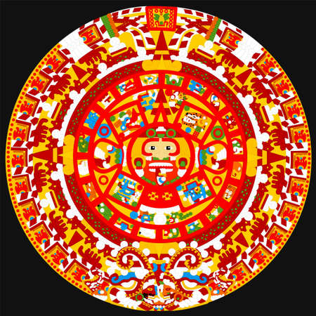 Famous ancient Aztec Calendar vector full color. Çizim