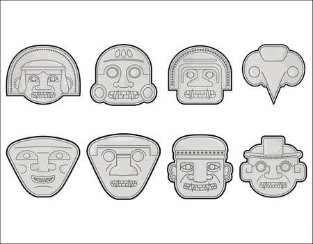 Famous San Agustín, Huila Colombian pre Hispanic sculptures Heads, vector illustration set