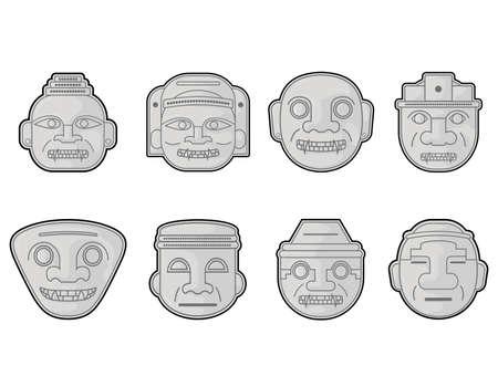 Heads of Colombian pre hispanic San Agustin sculptures, vector illustration set