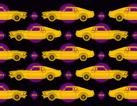 Muscle car vector set collage with yellow car. violet diamonds and circles with 1974 text and metal geometric pattern at background 矢量图像