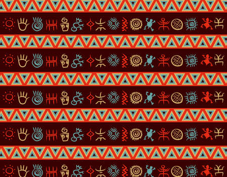 Multicolor geometric native south american indigenous pattern with colorful petroglyphs over a dark violet background