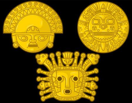 Ancient Incaic gods golden heads over black background. Peruvian Vector Illustration Set