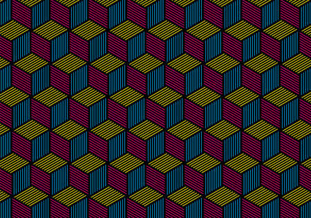 CMYK geometric cube pattern design over black background. Ideal for stamps and clothes stamps