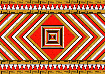 Ancient colorful native art based in Inca pre columbus geometric figures pattern. Indigenous concept