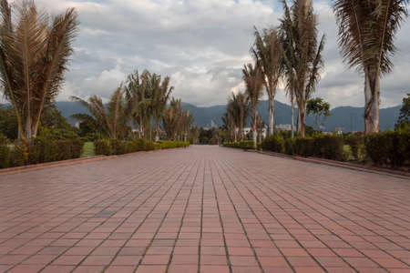 Beautiful shot of a evening park in middle of bogota city, with eastern mountains and gray mountains at background