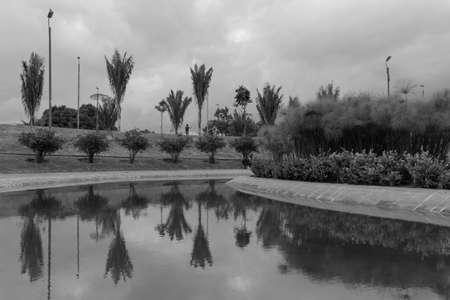 Beautiful latin american park black and white scene