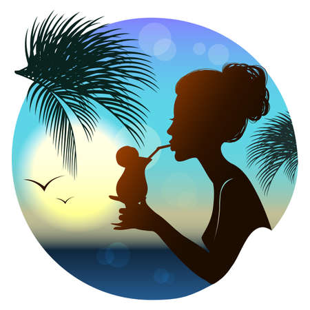 glamorous: Silhouette of the girl with a glass, summer, tropical sea view
