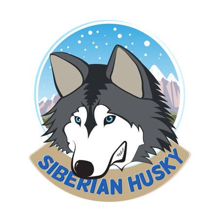 Siberian Husky, vector, cartoon, character, sticker Ilustração