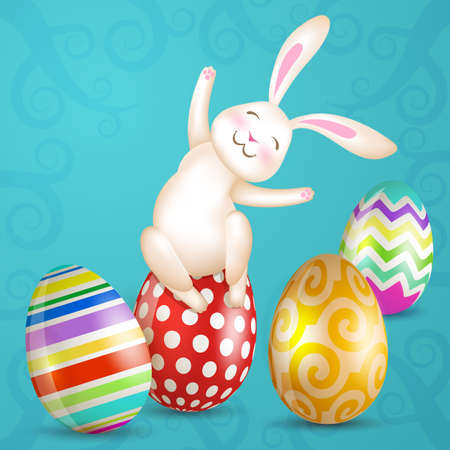spring summer: Happy Easter. Easter eggs and white sitting bunny. Vector. Illustration