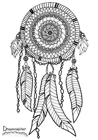 Dreamcatcher. A4 size. Pattern for adult coloring book. Hand drawn design with ethnic, doodle and zentangle elements. Vector.