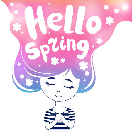 cute girl with long hair: Hello spring, dreaming girl, colored. Cute romantic girl with long hair. Hand drawn. Vector.