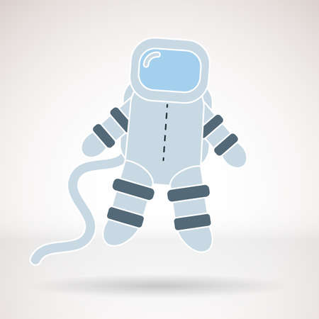 Vector icon for business presentations, interface, logo. Modern flat design. Astronaut in open space.