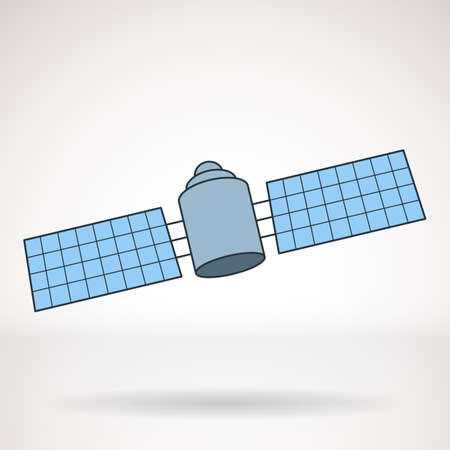 Vector icon for business presentations, interface, logo. Modern flat design.Satellite, space station.