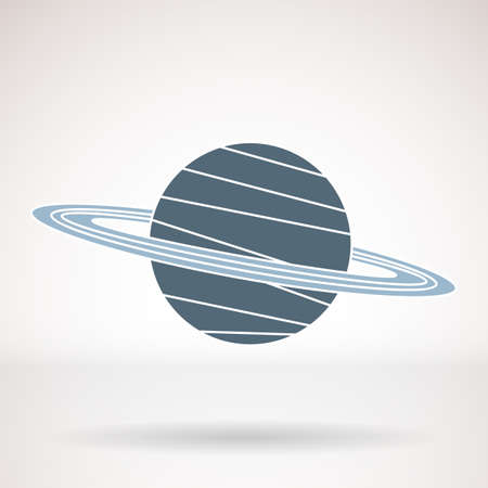 saturn rings: Vector icon for business presentations, interface, logo. Modern flat design. The planet with the rings, Saturn.