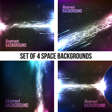 Set of 4 cosmic backgrounds. The energy flow with lightning. Abstract space backgrounds for business presentations. Çizim