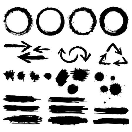 tearing down: Set of hand-drawn ink design elements, circles, scribble, lines, stroke, swirl, pointers, blobs.