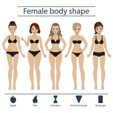 Set of five different types of female figures - hourglass, apple, pear, rectangle, inverted triangle.