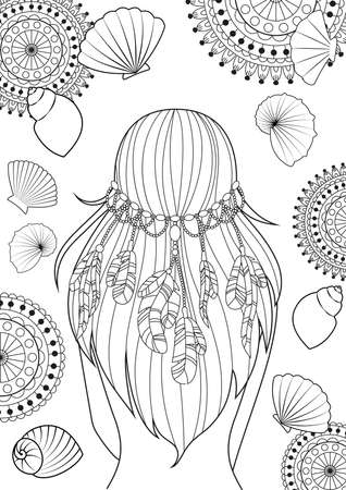 The pattern for coloring book for adults. Girl with feathers on her heads and shells. Modern linear art.
