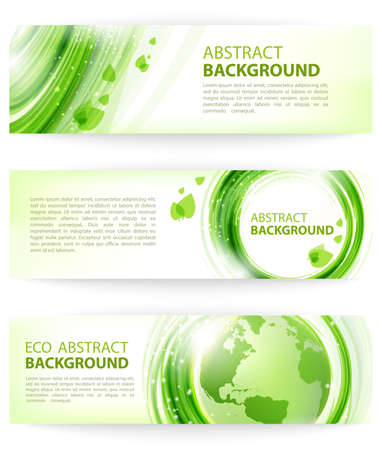 Set of green abstract banners with Earth, eco design. Abstract background for business presentations, cards, banners.