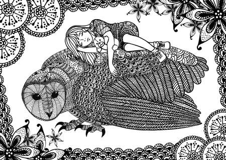 barn girls: The barn owl, girl and pattern. A4 size. Pattern for adult coloring book. Hand drawn design with ethnic, doodle and zentangle elements. Vector.