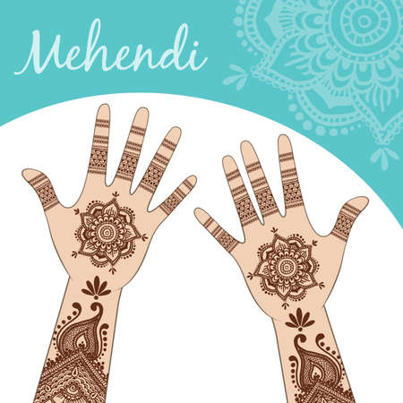 Womens hands, palms up. Mehendi. Vector. Illustration