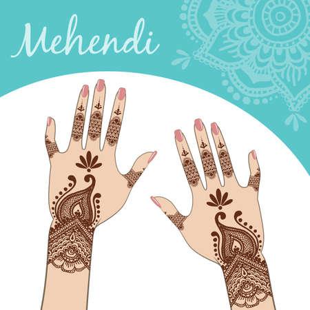 women's hands: Womens hands, manicure. Mehendi. Vector.