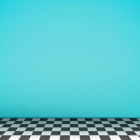 checkerboard backdrop: Turquoise empty scene with checkerboard floor