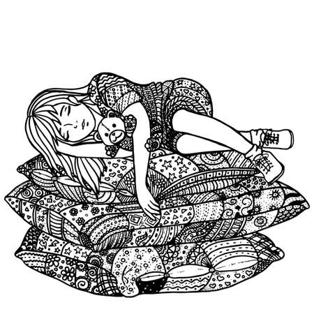 sleeping girl: Sleeping girl on pillows. Pattern for adult coloring book. Hand drawn design with ethnic, doodle and zentangle elements. Vector.