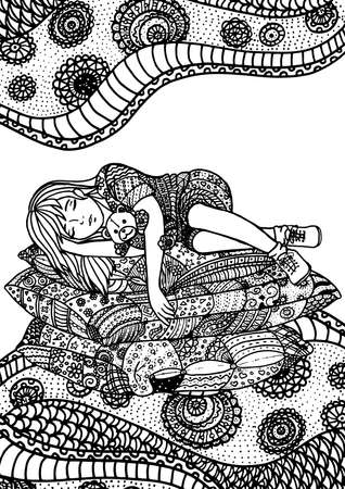 night moon: Sleeping girl on pillows. A4 size. Pattern for adult coloring book. Hand drawn design with ethnic, doodle and zentangle elements. Vector. Illustration