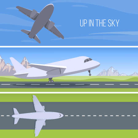 takeoff: Set of planes. Up in the sky. Runway with jet aircraft top view. Takeoff and landing airplanes set.  Vector. Illustration