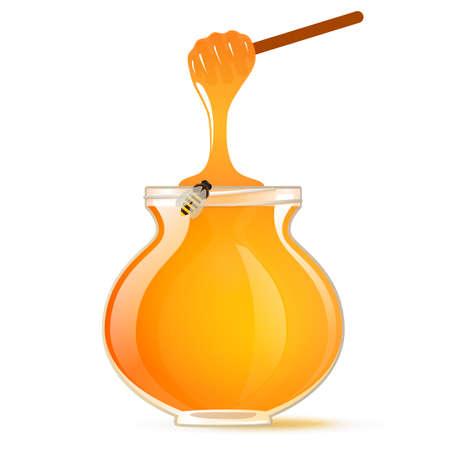 dipper: A pot of honey and honey dipper, bee. Vector. Illustration