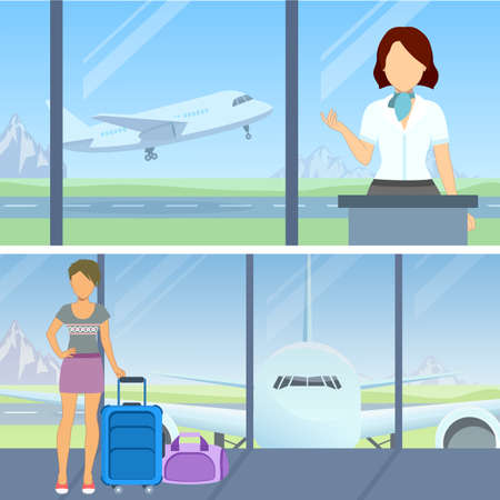 departure: At the airport - flight boarding, waiting for departure. Vector. Illustration