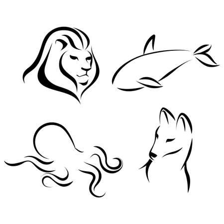 grampus: Animals, black lines, ink effect. Lion head, octopus, wolf, grampus logo icon design in mono line style. Dark on light background. Vector.