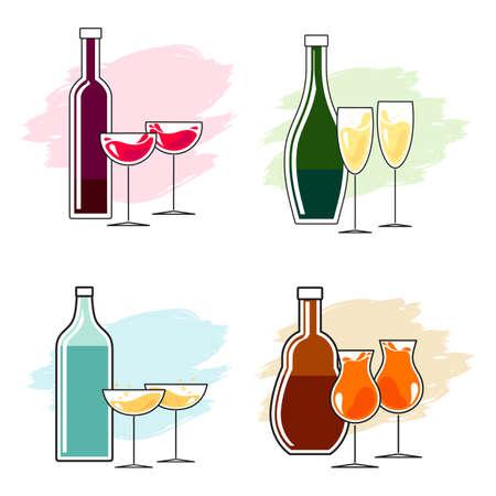 bebidas alcoh�licas: Conjunto de bebidas alcoh�licas y vasos. dise�o de la l�nea simple. Botella y dos vasos, tostadas, tintineo. Vector.